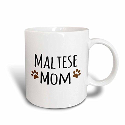 3dRose Maltese Terrier Dog Mom Mug, 11 oz, Brown