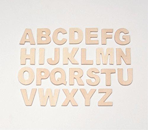 Glorex Lettere in Legno, 26 Pezzi, Naturale, 12 x 10 x 0.5 cm