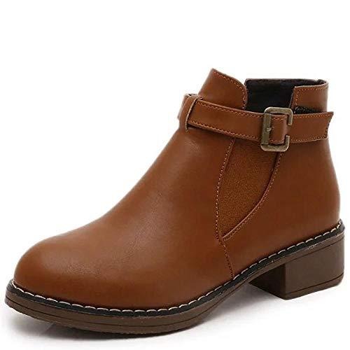 Dameslaarzen lage hak ronde teen PU laarzen/enkellaarzen herfst winter zwart/geel/grijs