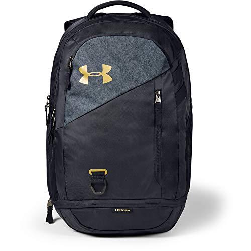 Under Armour Hustle 4.0, accesorio deportivo, mochila para portátil resistente al agua unisex, negro (Black/Black Medium Heather/Metallic Gold Luster(001)), Taglia unica