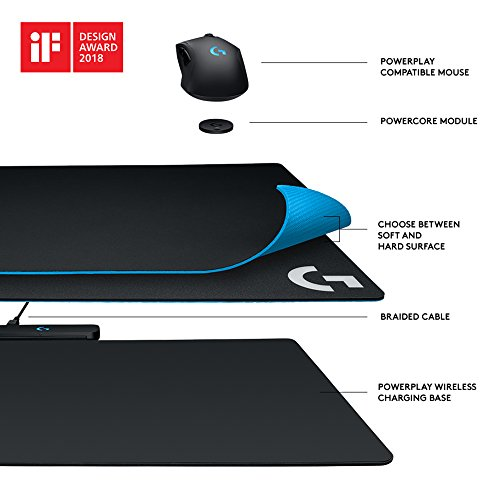 Logitech G Powerplay Ricarica Wireless Tappetino Mouse, Mouse Pad Compatibile con Mouse Gaming G903/G703, Nero