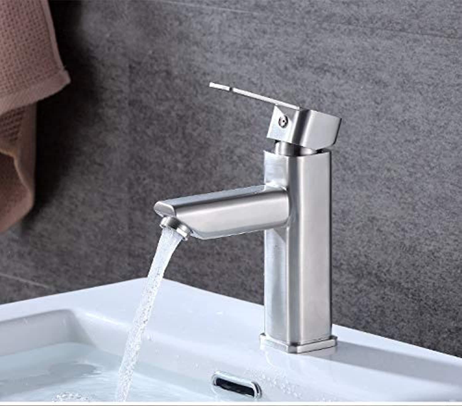 Stainless Steel Brushed Four Sides Basin Single Hole Faucet Bathroom Wash Basin Wash Hot and Cold Water Mixing Valve Bathroom