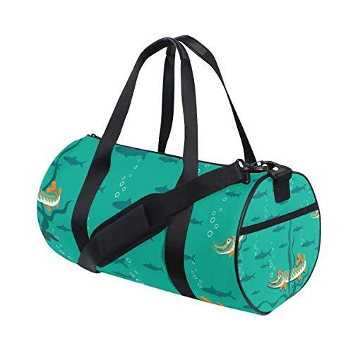 KISSENSU Gym Bag,Sac de Sport Queen Pike Fish Pond Seamless Pattern,Nouvelle Toile Imprimer Bucket Sports Bag Fitness Sacs Voyage Duffel Bagages Sac À Main