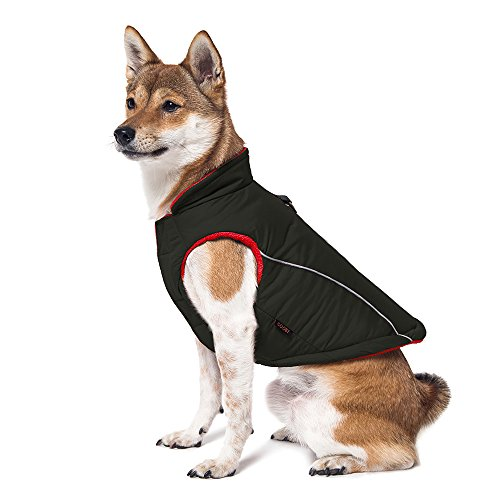 Gooby - Sports Vest, Fleece Lined Small Dog Cold Weather Jacket Coat Sweater with Reflective Lining, Black, Medium
