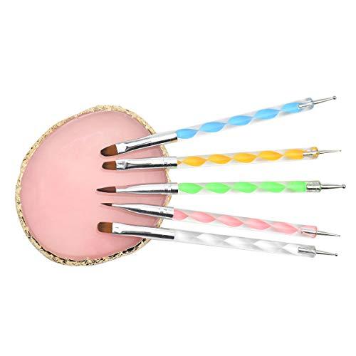 HQdeal Kit de Accesorios de Decoración de Uñas, kit de uñas Para Diseños (Pinceles para Uñas Acrilicas Paletas de Arte de Uñas), Para Uñas Gel mezclar maquillaje