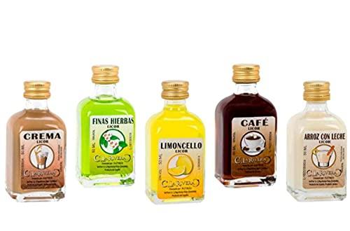 Lote de 25 Botellas de Licor Mini la Rivera(Sabores Surtidos). Regalos Originales. Detalles de Bodas, Bautizos, Comuniones y Eventos. DC