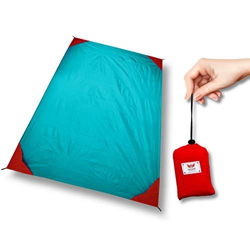 polaar Outdoor-, Picknickdecke und Stranddecke, Wasserdicht, Ultraleicht, für bis zu 4 Personen, mit Heringen - Ideal für den Park, Reise und Camping (200 x 150 cm (XL), ozeanblau/rot, ohne Heringe)