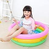 COOBNO Runde Dreifarbige Dreiringige Aufblasbare Kinderpool-babypool-PVC-verdickung Für Kinder DREI Farben (pink, gelb, grün)