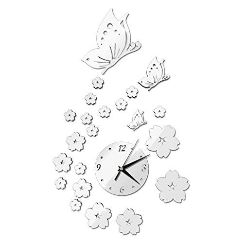 YLWL Spiegel Wandaufkleber 3D-Uhr Schmetterlingsmuster CA005 Wohnzimmer Dekoration Silber