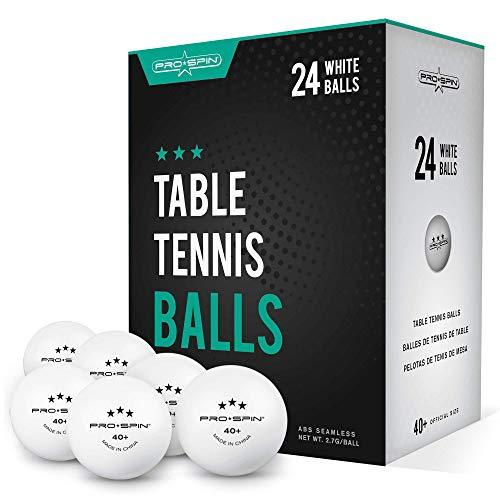 PRO SPIN Ping Pong Balls – 3 stelle bianche 40+ Palle da ping-pong (confezione da 24) | Palline da allenamento ABS ad alte prestazioni | Massima durata per tavoli da ping pong da interni ed esterni