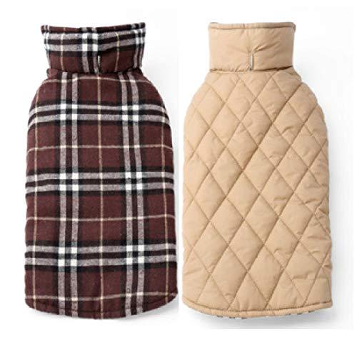 Waterproof And Reversible Dog Coat Warm Plaid Winter Dog Coat Pet Clothes Elastic Small Medium And Large Dog Clothes Autumn And Winter