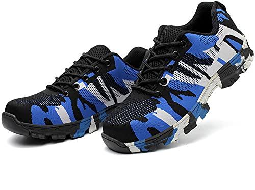 XIAORUI Zapatos de Seguridad para Hombres Entrenadores de Punta de Acero Zapatos de Trabajo Ligero Trabajos de protección Transpirables Zapatillas industriales-Camuflaje Azul_39