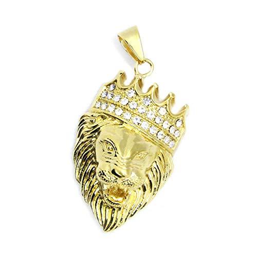 N/W El más Nuevo Colgante de Corona de Rey León Dorado con Piedras para Hombre joyería de Acero Inoxidable 316L Colgante de León Dorado de Moda