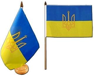 Flaggenfritze® Tafelvlag Oekraïne met wapen met gelakte houten voet