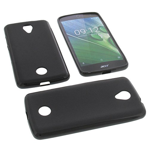 foto-kontor Tasche für Acer Liquid Jade Zest Gummi TPU Schutz Hülle Handytasche schwarz