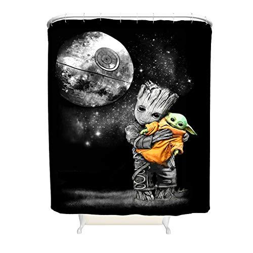 WellWellWell Baby Groot Hugging Yoda Duschvorhänge Bunt Badezimmer Vorhänge Waschmaschinenfest White 180x200cm