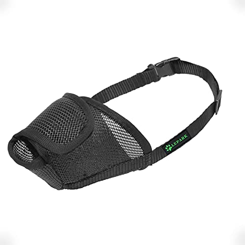 ILEPARK Dog Muzzle with All Around Protection Mesh Cover, Prevent Barking,...