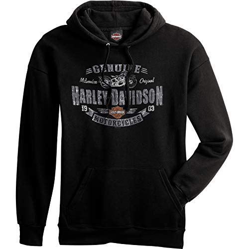 HARLEY-DAVIDSON Military - Men's Black Hooded Pullover Graphic Sweatshirt - Overseas Tour | Rough Genuine
