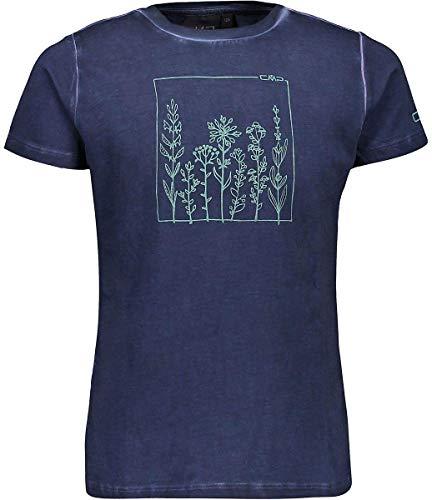 CMP Mädchen T-Shirt Elastisches Dyed Jersey, Blue, 152, 39T7555