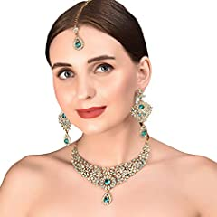 EXTRA LONG EARRINGS. Length 3.25 inches SPECIFICATIONS : Necklace circumference 11 inches extendable with extra links/chain up to 15 inches. Earring Weight (single) 17 gms.. * Earring Length 3.25 inches * Earring Width 1.50 inches * This is in a spec...