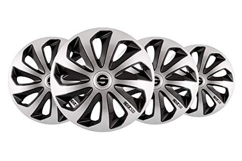 SPARCO SPC1573SVBK 1 Juego de 4 Tapacubos color plata/negro modelo Sicilia diseño deportivo, 15 pulgadas, Set de 4