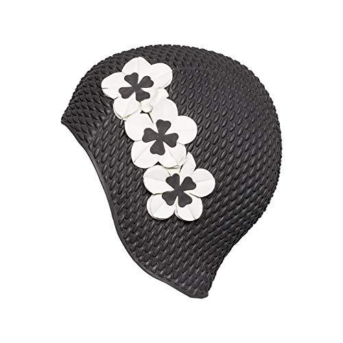 Fashy - Gorro de baño de Goma para Mujer (Relleno de Aire) Negro Negro