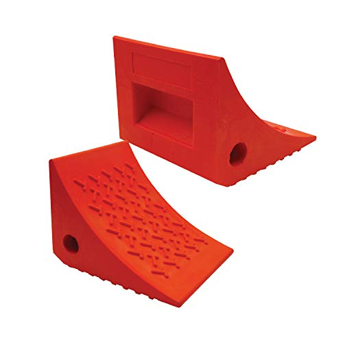 SECURITYMAN 2 Pack Wheel Chocks - Constructed of Heavy Duty Material for 20,000 lbs of RV, Trailer, Truck, Camper - Perfect on All Surfaces and in All Weather - Orange