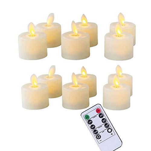 BBGSFDC Realista 12 Piezas Realista LED de Control Remoto Velas de té sin Llama Velas Parpadeo 10-Llaves Falsas Velas Que Funcionan con batería Brillante (Color : Remote Function)
