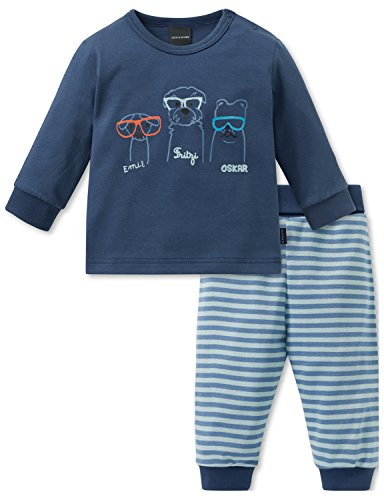 Schiesser Schiesser Baby-Jungen Cool Dogs Anzug 2-teilig Zweiteiliger Schlafanzug, Blau (Blau 800), 62