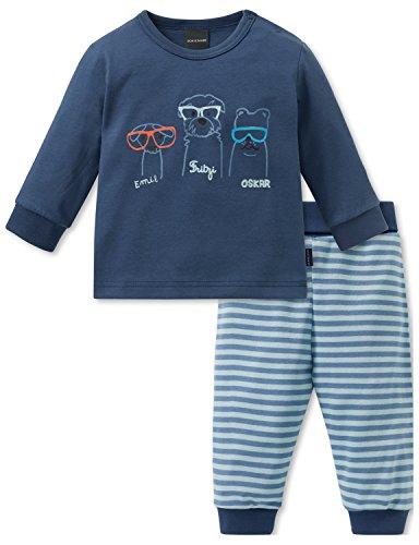 Schiesser Jungen Cool Dogs Baby Anzug 2-teilig Zweiteiliger Schlafanzug, (Blau 800), 62