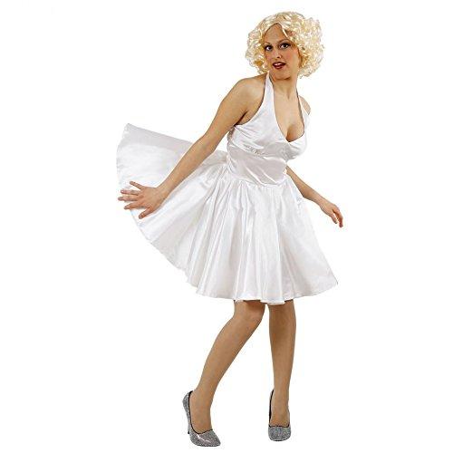 Krause & Sohn Disfraz de Marilyn S-XXL Vestido Blanco Actriz de Hollywood Icono de Cine Estrella de Cine (M)