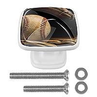 キャビネットハンドルノブドレッサー引き出し用4個野球の手袋とボール ドアノブクリスタルガラス