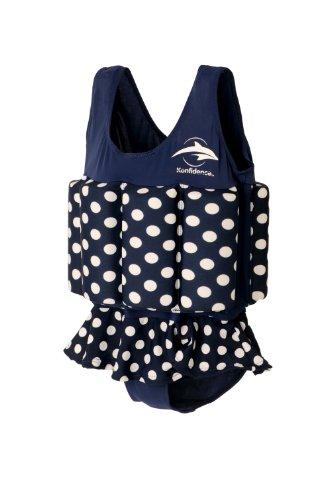 Konfidence Float Suit Badeanzug integrierter Auftrieb Navy Polka Dot 1-2 Jahre 11-15 kg NEU Schwimmhilfe für optimale Armfreiheit