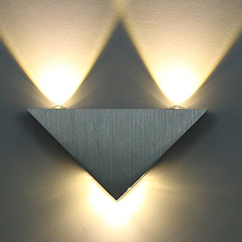 Lightess Apliques de Pared Bañadores de Pared Lámpara de Pared, Puro Aluminio 3 LED 3W, Adecaudo para Pasillo, Entrada, Docoración Hogar, Blanco Cálido