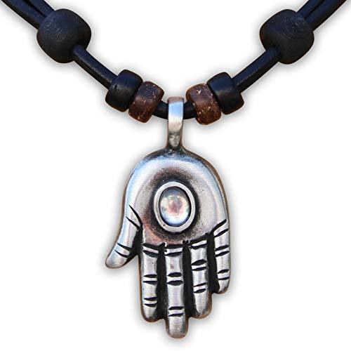 HANA LIMA ® Lederhalskette Lederkette Hand der Fatima Khamsa Hamsa Halskette Herren Damen