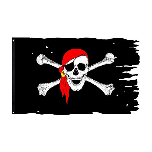 FLAGLINK Red Scarf Skull Bones Jolly Roger Flag 3X4.8Fts Crossbone Pirate Banner Creepy Ragged