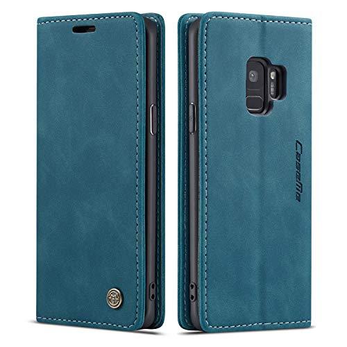 QLTYPRI Hülle für Samsung Galaxy S9 Plus, Vintage Dünne Handyhülle mit Kartenfach Geld Slot Ständer PU Ledertasche TPU Bumper Flip Schutzhülle Kompatibel mit Samsung Galaxy S9 Plus - Blau
