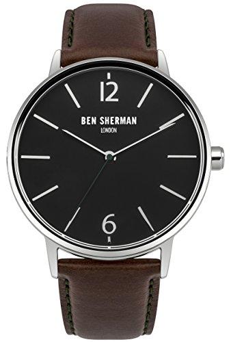 Ben Sherman Hombres Reloj De Cuarzo con Esfera Analógica y Negro Correa de Piel Dos Tonos wb059brn