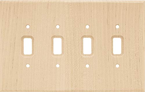 Franklin Brass W10688-UN-C Square Quad Toggle Switch Wall Plate/Switch Plate/Cover, Unfinished Wood