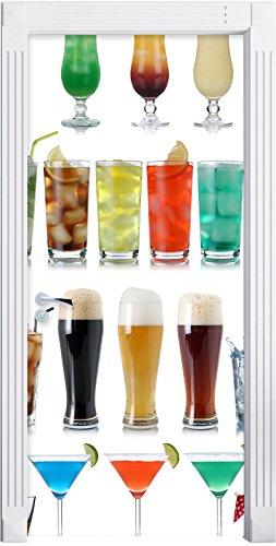Stil.Zeit Möbel Cocktails, Long Drinks und Bier als Türtapete, Format: 200x90cm, Türbild, Türaufkleber, Tür Deko, Türsticker