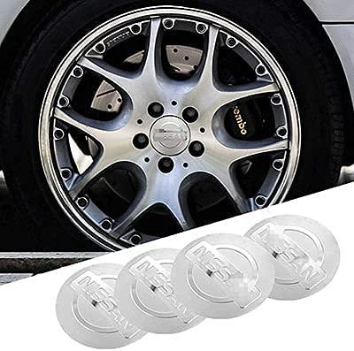 LIBAOBAO 4 Piezas Coche Tapas Centrales Rueda para Nissan Qashqai Juke X-Trail Terrano Kicks,Tapas Centrales para Llantas,Tapacubo Tapas Centrales Bujes Emblema Coche Accessories,56mm