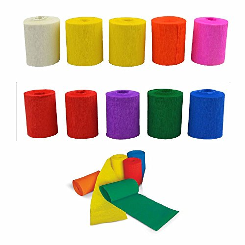 Krepp 10 Rollen bunt sortiert 5 cm x 5 m
