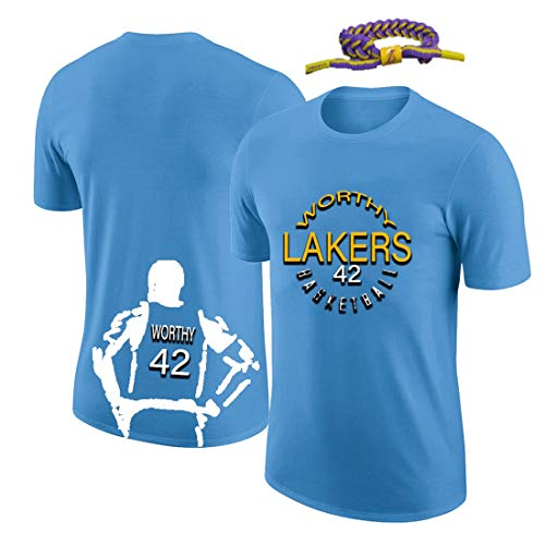 YUUY Camiseta Deportiva Hombre James Digno # 42 Camiseta de Baloncesto de Moda para Hombres y Mujeres, Manga Corta Informal Suave (Color : Blue, Size : XXX-Large)