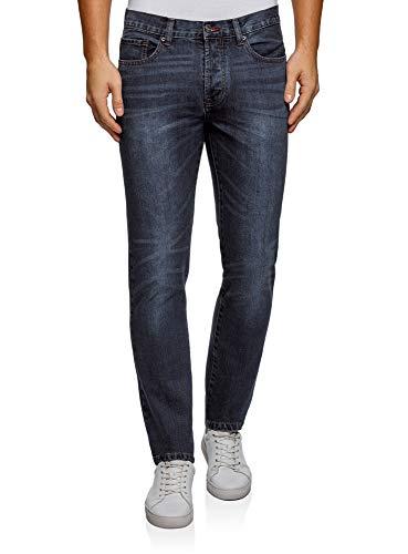 oodji Ultra Herren Jeans Slim Fit Basic, Blau, 29W / 34L