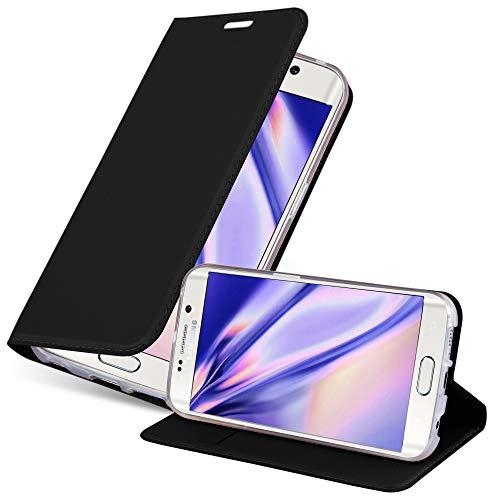 Cadorabo Custodia Libro per Samsung Galaxy S6 Edge in Classy Nero – con Vani di Carte, Funzione Stand e Chiusura Magnetica – Portafoglio Cover Case Wallet Book Etui Protezione