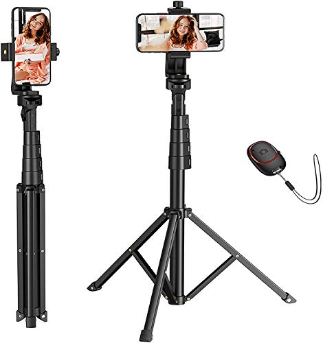 Mpow Selfie Stick and Tripod, 62-inch Phone Tripod Stand Professional All in One Cell Phone Tripod with Bluetooth Remote Phone Holder, Compatible with iPhone Android, Camera- Aluminum, Lightweight