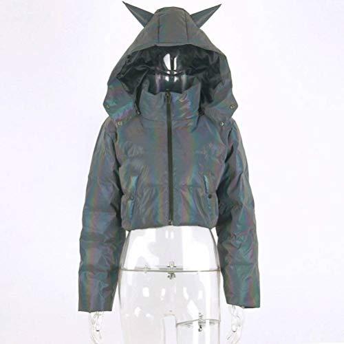 JUSTTIME Womens winterjas reflecterende katoen bont licht losse katoenen jas met capuchon vrouwen Large multicolor