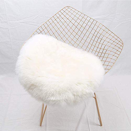 YJ.GWL Super Soft Shaggy Faux Fur Sheepskin Chair Cover Area Rugs for Bedroom Sofa Fluffy Seat Pad, 1.5' Round