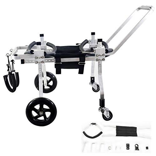 Silla de ruedas para perros con 4 ruedas, ajustable, discapacitados, pata delantera, extremidades traseras, scooter, carrito de energía para perros mayores, para perros pequeños y medianos con accesor