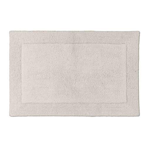 Schöner Wohnen – Alfombrilla de baño, reversible, lavable, diseño de rayas, 100% algodón, 8 colores en 2 tamaños, 100 % algodón, Cenefa crema., 67 x 110 cm